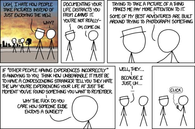 Sobre el tomar fotos constantemente - discusión