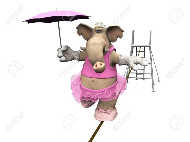 Elefante rosa sobre cuerda floja